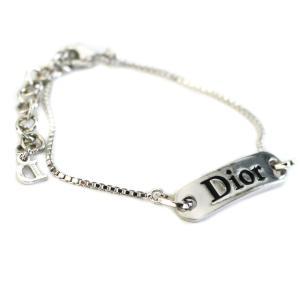 クリスチャンディオール ロゴプレート 腕輪 ブレスレット レディース メタル アクセサリー シルバー 中古  Christian Dior|goldeco