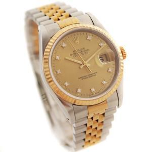 オーバーホール済み 新品仕上げ済み ロレックス デイトジャスト 腕時計 メンズ 自動巻き 10Pダイヤ シャンパン文字盤 ゴールド Ref.16233G 中古 送料無料 ROLEX|goldeco