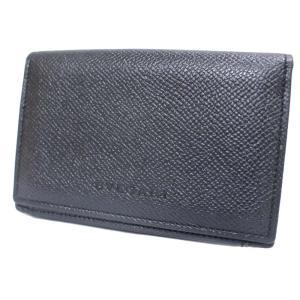 ブルガリ 名刺入れ カードケース メンズ レザー ブラック 中古 送料無料 BVLGARI|goldeco