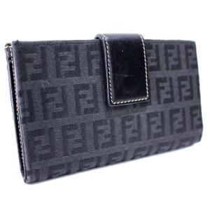 フェンディ ズッカ柄 がま口 二つ折り財布 レディース キャンバス レザー ブラック 中古  FENDI|goldeco