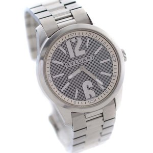 ブルガリ ソロテンポ 腕時計 メンズ クオーツ グレー 格子柄文字盤 シルバー ST37S 中古 送料無料 BVLGARI|goldeco