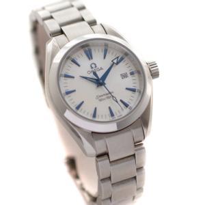 オメガ シーマスター アクアテラ 腕時計 レディース クオーツ ホワイトシェル文字盤 シルバー 2573.70 中古 送料無料 OMEGA|goldeco