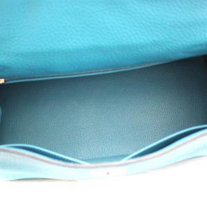 エルメス ケリー28 ハンドバッグ レディース トゴ レザー ブルー □R刻印 中古 送料無料 HERMES goldeco 08