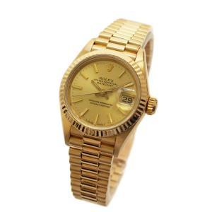 ロレックス デイトジャスト 金無垢 腕時計 レディース 自動巻き シャンパンゴールド文字盤 ゴールド 69178 中古 送料無料 ROLEX|goldeco