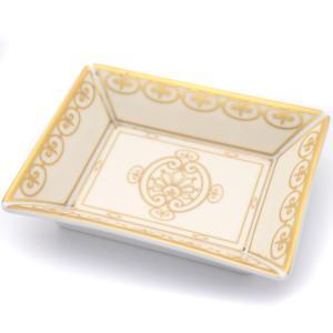 クリスチャンディオール スクエア ミニプレート 灰皿 ユニセックス 陶器 アイボリー ゴールド 中古  Christian Dior|goldeco