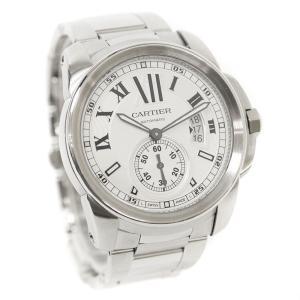 オーバーホール済み 新品仕上げ済み カルティエ カリブル ドゥ カルティエ 腕時計 メンズ 自動巻き シルバー文字盤 シルバー W7100015 中古 送料無料 CARTIER|goldeco
