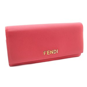 フェンディ 二つ折り ロゴ 長財布 レディース レザー ピンク 8M0251 中古 送料無料 FENDI goldeco