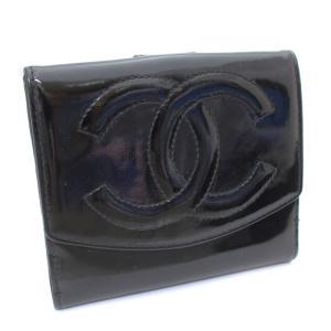 シャネル ココマーク 二つ折り財布 レディース パテントレザー ブラック 中古 送料無料 CHANEL goldeco