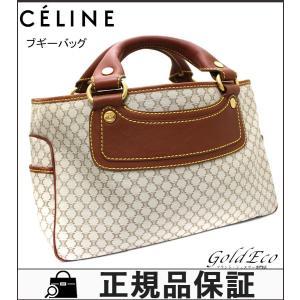 CELINE セリーヌ ブギーバッグ ハンドバッグ マカダム ベージュ ブラウン キャンバス レザー 中古 レディース 鞄|goldeco