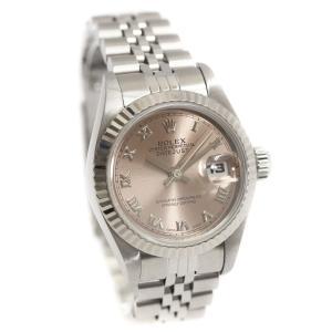 オーバーホール済み 新品仕上げ済み ロレックス デイトジャスト 腕時計 レディース 自動巻き ローマ ピンク文字盤 シルバー WG 69174/U番 中古 送料無料 ROLEX|goldeco
