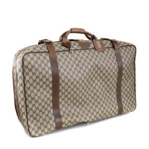 グッチ トランクケース 旅行カバン オールドグッチ  スーツケース ユニセックス PVC レザー ブラウン 中古 送料無料 GUCCI|goldeco