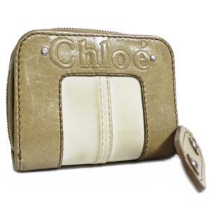 クロエ ラウンドファスナー 二つ折り財布 レディース レザー ベージュ 中古  Chloe|goldeco