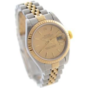オーバーホール済み ロレックス デイトジャスト 腕時計 レディース 自動巻き シャンパンゴールド文字盤 コンビ Ref:79173/A番 中古 送料無料 ROLEX goldeco