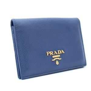 プラダ 名刺入れ ロゴ カードケース レディース レザー ブルー 中古  PRADA|goldeco