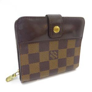 ルイ ヴィトン コンパクトジップ 二つ折り財布 レディース ダミエキャンバス ブラウン N61668 中古 送料無料 LOUIS VUITTON goldeco