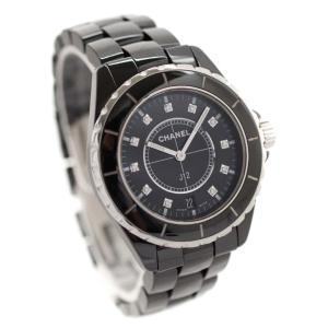 シャネル J12 38mm 11Pダイヤ  腕時計 メンズ クオーツ ブラック文字盤 ブラック  H2124  中古 送料無料 CHANEL|goldeco