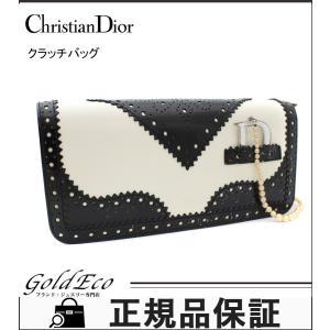 クリスチャンディオール パンチング レザー パーティ クラッチバッグ ハンドバッグ サテン フリル ブラック ホワイト 中古 Christian Dior|goldeco