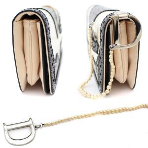 クリスチャンディオール パンチング レザー パーティ クラッチバッグ ハンドバッグ サテン フリル ブラック ホワイト 中古 Christian Dior|goldeco|02