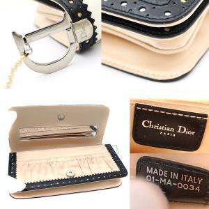 クリスチャンディオール パンチング レザー パーティ クラッチバッグ ハンドバッグ サテン フリル ブラック ホワイト 中古 Christian Dior|goldeco|05