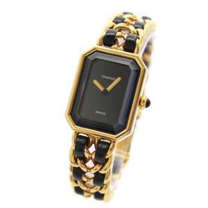 シャネル プルミエール L 腕時計 レディース クオーツ ブラック文字盤 ゴールド ブラック 中古 送料無料 CHANEL|goldeco