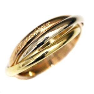 カルティエ トリニティ リング 約8号 K18 750 指輪 スリーカラー 三連 ジュエリー 新品仕上げ済み 中古 Cartier 送料無料|goldeco