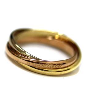 新品仕上げ済み カルティエ トリニティ リング・指輪 レディース K18イエローゴールド K18ピンクゴールド ジュエリー 8号 ゴールド 中古 送料無料 CARTIER|goldeco