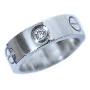 新品仕上げ済み カルティエ ハーフダイヤ ラブリング リング・指輪 レディース K18ホワイトゴールド ダイヤモンド 8号 ホワイトゴールド 中古 送料無料 CARTIER|goldeco