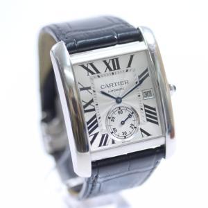 カルティエ タンクMC ローマインデックス 裏スケ 腕時計 メンズ 自動巻き シルバー文字盤 ブラック シルバー W5330003 中古 送料無料 CARTIER|goldeco