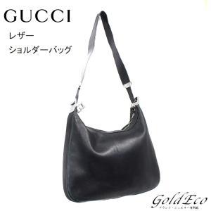 GUCCI グッチ レザー ショルダーバッグ ブラック Gフック 001・3341 中古 シルバー金具 レディース 黒 バッグ 斜め掛け|goldeco