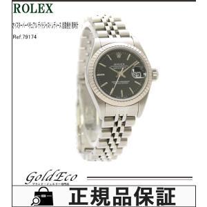 新品仕上げ済み ロレックス オイスターパーペチュアル デイトジャスト SS WG デイト ブラック文字盤 Ref.79174 レディース 腕時計 美品 中古 ROLEX|goldeco
