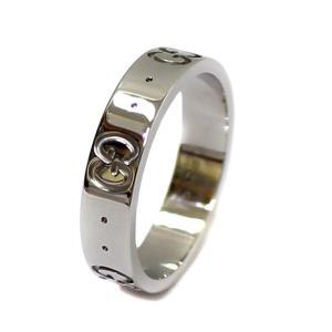新品仕上げ済み グッチ アイコン リング リング・指輪 ユニセックス K18ホワイトゴールド アクセサリー 7.5号 シルバー 中古 送料無料 GUCCI|goldeco