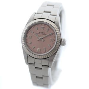 ロレックス オイスターパーペチュアル 腕時計 レディース 自動巻き ピンク文字盤 シルバー ホワイトゴールド 76094 / A番 中古 送料無料 ROLEX|goldeco