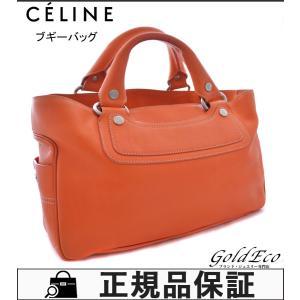 セリーヌ ブギーバッグ ハンドバッグ レザー オレンジ シルバー金具 レディース CE00/12 中古 CELINE|goldeco