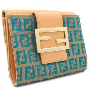 フェンディ ズッキーノ Wホック 二つ折り財布 レディース キャンバス レザー ベージュ ブルー 8M0035 中古 送料無料 FENDI|goldeco