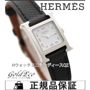 超美品 HERMES エルメス Hウォッチミニ アラビア レディース腕時計 クォーツ HH1.110.131 SS/レザーベルト ブラック ホワイト文字盤 中古 goldeco