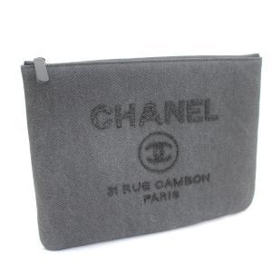 442629ce2b85 未使用品 シャネル ドーヴィルライン ココマーク クラッチバッグ レディース デニム スパンコール グレー A80117 中古 送料無料