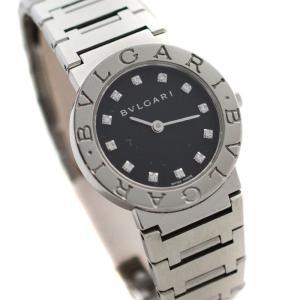 BVLGARI ブルガリ ブルガリブルガリ 12Pダイヤ レディース 腕時計 クォーツ ステンレス ダイヤモンド ブラック文字盤/シルバー BB23SS 中古 goldeco
