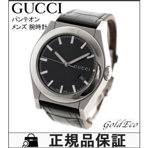 送料無料 GUCCI グッチ パンテオン メンズ ウォッチ 自動巻き ステンレス レザー シルバー ブラック 腕時計 裏スケ 115.2 中古|goldeco