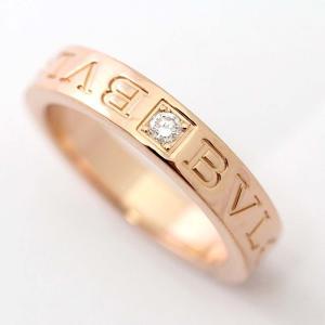 新品仕上げ済み ブルガリ 1PD ダブルロゴ リング・指輪 ユニセックス K18ピンクゴールド ダイヤモンド ジュエリー 10.5号 PG 中古 送料無料 BVLGARI goldeco