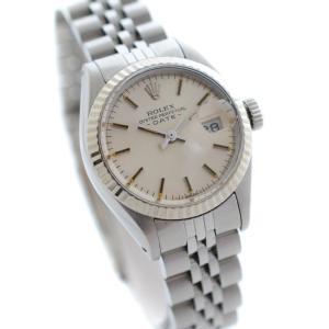 ロレックス オイスターパぺチュアル デイト 腕時計 レディース 自動巻き シルバー文字盤 シルバー Ref.6917 中古 送料無料 ROLEX|goldeco
