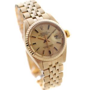 オーバーホール済み 新品仕上げ済み ロレックス デイトジャスト 金無垢 腕時計 レディース 自動巻き ゴールド Ref.69178 中古 送料無料 ROLEX|goldeco