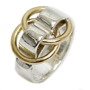美品 エルメス ドゥザノー リング 約11号 SV K18 指輪 ブランドアクセサリー コンビ ゴールド シルバー レディース 中古 HERMES 送料無料 goldeco