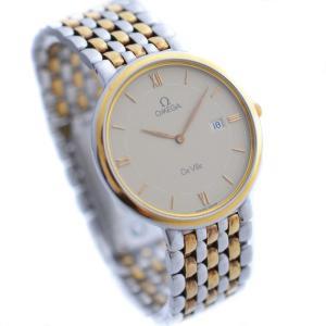 OMEGA オメガ De Ville デビル メンズ 腕時計 デヴィル クォーツ デイト SS/GP コンビ ゴールド文字盤 ラウンド 中古|goldeco