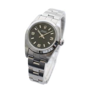 ロレックス オイスター パーペチュアル 腕時計 レディース 自動巻き ブラック文字盤 シルバー 76080 A番 中古 送料無料 ROLEX|goldeco