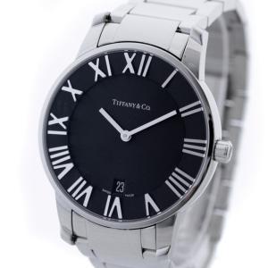 ティファニー アトラス ドーム メンズ 腕時計 ステンレス シルバー ブラック文字盤 ウォッチ クォーツ Z1800.11.10A10A00A 中古 Tiffany&Co goldeco