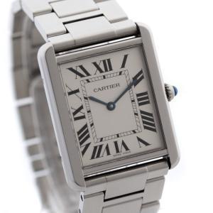 送料無料 Cartier カルティエ タンクソロLM メンズ 腕時計 クォーツ シルバー ステンレス ウォッチ W5200014 中古|goldeco