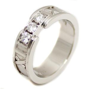 新品仕上げ済み ティファニー アトラス ダイヤリング 3Pダイヤモンド K18WG 約7.5号 ホワイトゴールド ブランドジュエリー 指輪 中古 Tiffany&Co 送料無料 goldeco