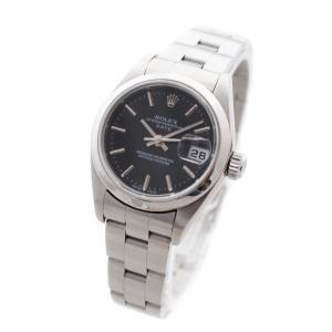 オーバーホール済み ロレックス オイスター パーペチュアル デイト 腕時計 レディース 自動巻き ブラック文字盤 シルバー 79160 K番 中古 送料無料 ROLEX|goldeco
