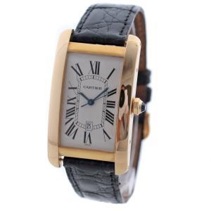 カルティエ タンク アメリカン LM 腕時計 メンズ 自動巻き ホワイト文字盤 ゴールド ブラック  W2603156 中古 送料無料 CARTIER goldeco
