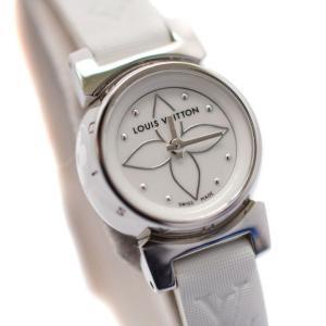 美品 ルイヴィトン タンブール ビジュ レディース 腕時計 クォーツ SS 純正革ベルト モノグラム ホワイトシェル Q151C 中古 LOUIS VUITTON|goldeco